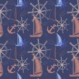 Vector безшовная картина с кораблями, колесо моря ` s корабля, анкер Печать шаржа также вектор иллюстрации притяжки corel Стоковое Фото