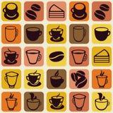 Vector безшовная картина с кофейными чашками чая и Стоковые Фотографии RF
