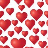 Vector безшовная картина с красными сердцами на белой предпосылке Стоковое Изображение RF