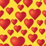 Vector безшовная картина с красными сердцами на желтой предпосылке Стоковая Фотография