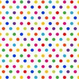 Vector безшовная картина с красочными точками польки на белой предпосылке иллюстрация вектора