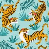 Vector безшовная картина с милыми тиграми на предпосылке Выставка животного цирка Модный дизайн ткани Стоковая Фотография