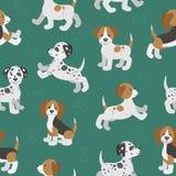 Vector безшовная картина с милыми щенятами собаки шаржа Стоковое фото RF