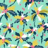 Vector безшовная картина с пальмами кокоса силуэтов тропическими Стоковое Изображение RF