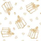 Vector безшовная картина с приветствиями и сердцами дня рождения Литерность золота на белой предпосылке для оборачивать подарка Стоковые Фотографии RF
