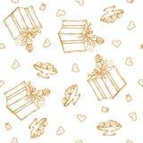 Vector безшовная картина с приветствиями и сердцами дня рождения Литерность золота на белой предпосылке для оборачивать подарка Стоковое Изображение