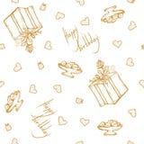 Vector безшовная картина с приветствиями и сердцами дня рождения Литерность золота на белой предпосылке для оборачивать подарка Стоковые Изображения RF