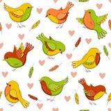 Vector безшовная картина с птицами, сердцами и пер иллюстрация вектора