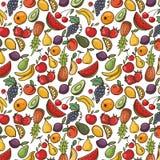 Vector безшовная картина с плодоовощами, предпосылка плодоовощ Стоковое Изображение