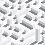 Vector безшовная картина с равновеликими блоками и тенями Белая предпосылка, белые элементы Стоковые Изображения RF