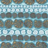 Vector безшовная картина с раковинами на голубой предпосылке Стоковая Фотография RF