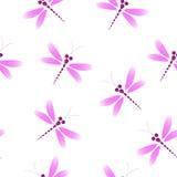 Vector безшовная картина с розовыми dragonflies на белом backg Стоковое Изображение
