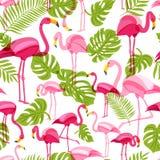 Vector безшовная картина с розовым фламинго и зелеными листьями пальмы лето предпосылки тропическое иллюстрация штока