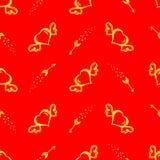 Vector безшовная картина с сердцами нарисованными рукой с крылами и стрелками летания Предпосылка дня StValentine s Стоковая Фотография