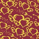 Vector безшовная картина с сердцами нарисованными рукой с крылами и стрелками летания Предпосылка дня StValentine s Стоковые Изображения