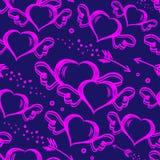 Vector безшовная картина с сердцами нарисованными рукой с крылами и стрелками летания Предпосылка дня StValentine s иллюстрация вектора