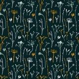 Vector безшовная картина с силуэтами цветков и травы Стоковые Фотографии RF