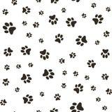 Vector безшовная картина с следами ноги лапки волка, пятен и мазков собаки Стоковое Фото