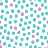 Vector безшовная картина с случайно помещаемыми точками польки пинка и мяты нарисованными рукой на белой предпосылке Стоковая Фотография RF