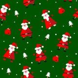 Vector безшовная картина с смешным Санта Клаусом, настоящими моментами и елью Стоковое Изображение