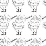 Vector безшовная картина с смеяться над Санта Клаусом изолированным на wh Стоковые Изображения RF