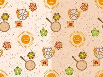 Vector безшовная картина с солнцем, цветками, блинчиками и горящим колесом Стоковые Фотографии RF
