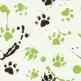 Vector безшовная картина с следами ноги лапки собаки Стоковые Изображения
