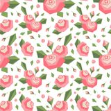Vector безшовная картина с угловыми стилизованными розовыми цветками и листьями нежность поля глубины дротиков цветов отмелая Про бесплатная иллюстрация
