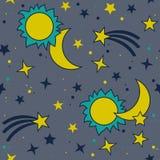 Vector безшовная картина с луной, солнцем и звездами Стоковые Изображения