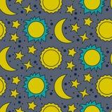 Vector безшовная картина с луной, солнцем и звездами Стоковые Фотографии RF