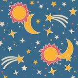 Vector безшовная картина с луной, солнцем и звездами Стоковое Изображение