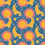 Vector безшовная картина с луной, солнцем и звездами Стоковое Фото
