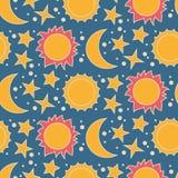 Vector безшовная картина с луной, солнцем и звездами Стоковые Фото