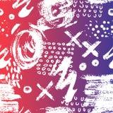 Vector безшовная картина с ходами и точками щетки Белый цвет на голубой розовой предпосылке градиента Усадьба покрашенная рукой иллюстрация вектора