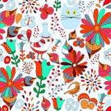 Vector безшовная картина с цветком, птицей и бабочкой, шаржем Стоковая Фотография RF