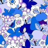 Vector безшовная картина с цветком, яблоком и грушей, dood шаржа Стоковая Фотография RF