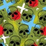 Vector безшовная картина с черепом поставленным точки чернотой, стрелками, голубыми крестами и помарками красного цвета на хаки п Стоковое фото RF