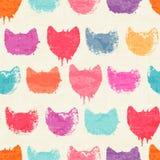 Vector безшовная картина с яркой красочной нарисованными рукой головами кота Стоковая Фотография