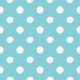 Vector безшовная картина точек польки младенца с smileys Голубые и белые цветы Стоковое Изображение RF