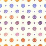 Vector безшовная картина точек польки младенца с smileys Розовые, фиолетовые, оранжевые и белые цвета Стоковые Изображения RF
