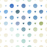 Vector безшовная картина точек польки младенца с smileys Розовый, голубой, зеленый, бирюза и белый цвет Стоковое Изображение