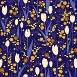 Vector безшовная картина, луг лета ночи с цветками Стоковое Изображение