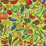 Vector безшовная картина фрукта и овоща, тыквы, яблока, Стоковая Фотография