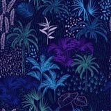 Vector безшовная картина monotone голубого леса для tropi лета иллюстрация штока