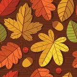 Vector безшовная красочная картина листьев осени над деревянной предпосылкой текстуры Стоковое Фото