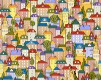 Vector безшовная покрашенная предпосылка города с милыми домами и деревьями Стоковая Фотография RF