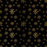 Vector безшовная предпосылка картины зимы с снежинками золота Стоковые Изображения RF