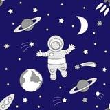 Vector безшовная предпосылка к суткам праздника международным человеческого космического полета Иллюстрация для дизайна торжества Стоковое Изображение