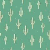 Vector безшовная предпосылка с кактусом на зеленом цвете предпосылки Стоковое фото RF