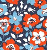 Vector безшовная предпосылка с одичалыми розами, винтажный стиль Нарисованный рукой дизайн ткани Стоковые Изображения